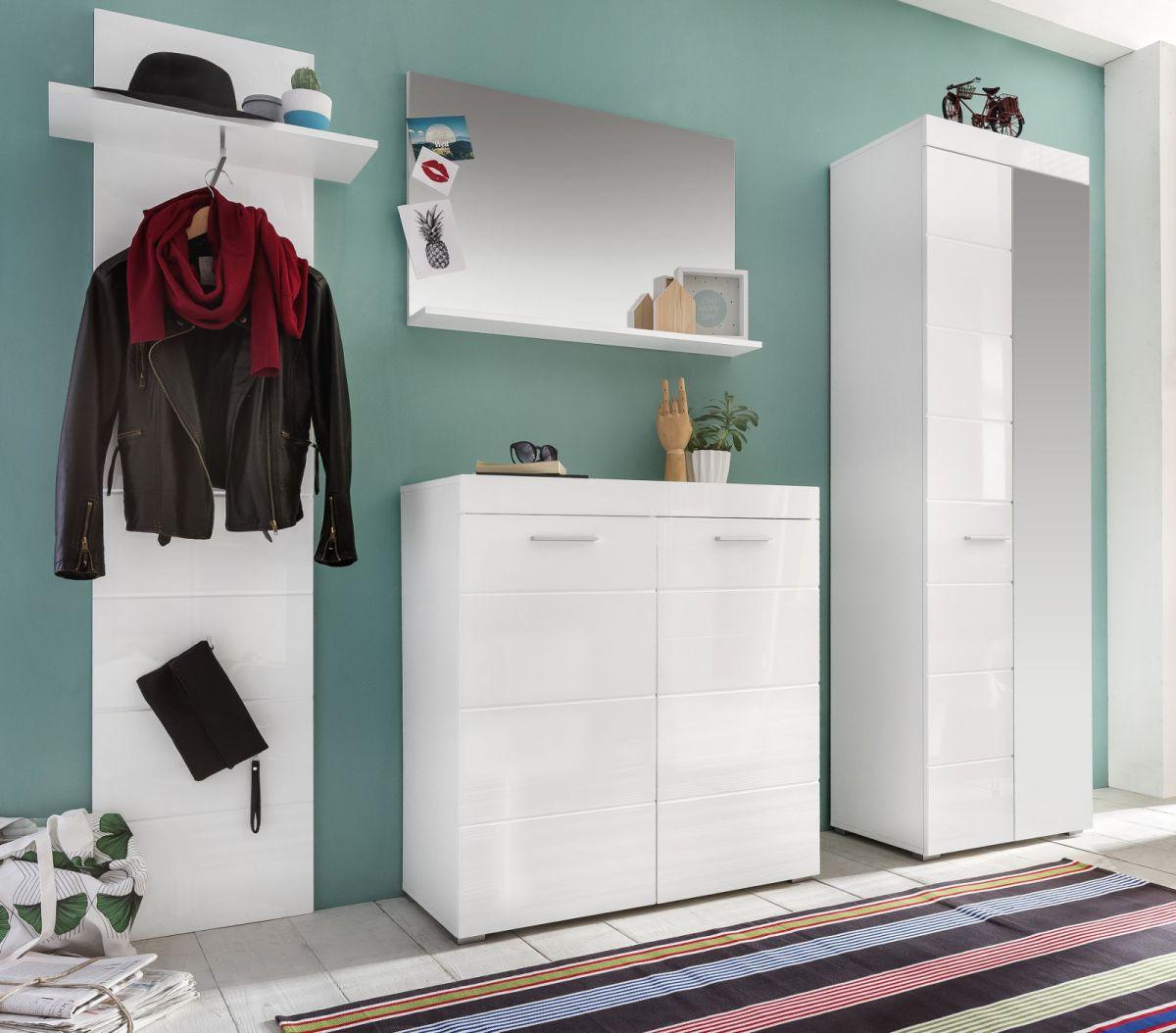 Garderobenset Amanda 4 teilig weiss Hochglanz 233 cm mit Garderobenschrank