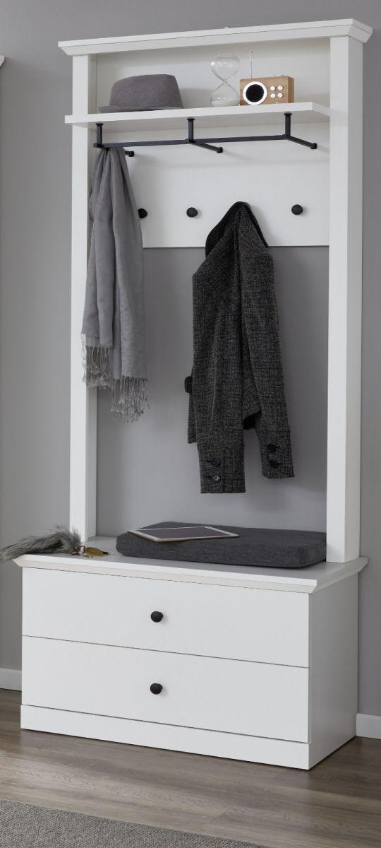 Garderobenset Baxter 2-teilig in weiss Schuhbank und Paneel Breite 81 cm
