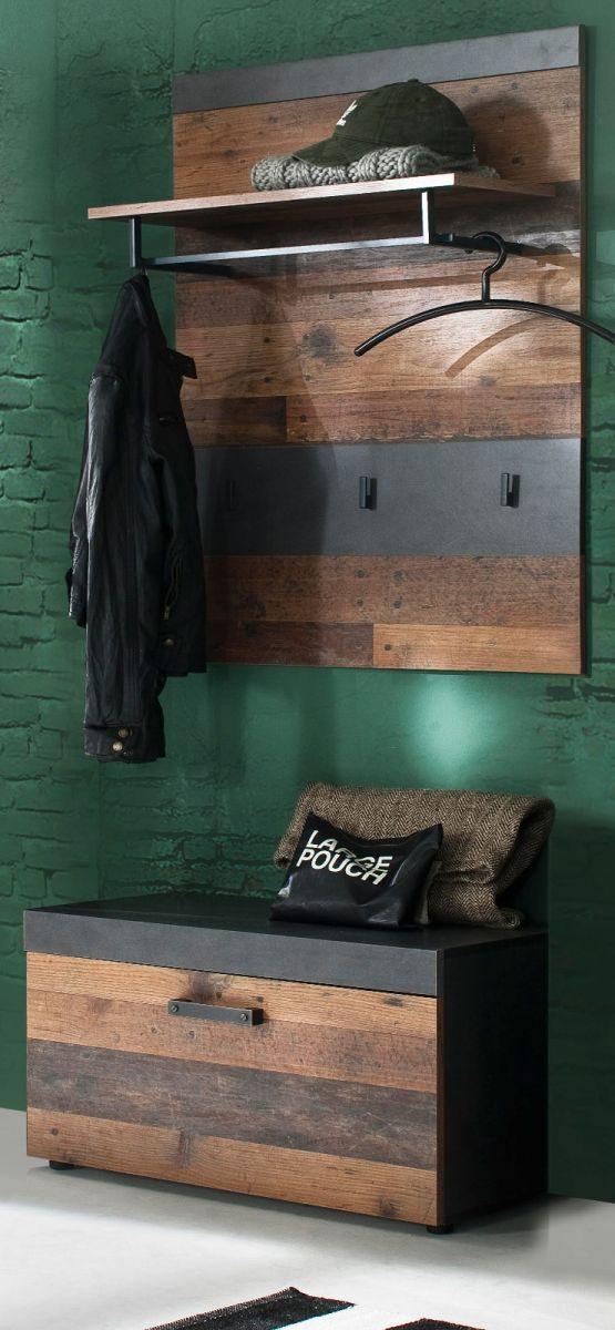 Garderobenset Indy 2-teilig in Used Wood Shabby und Matera grau 80 cm