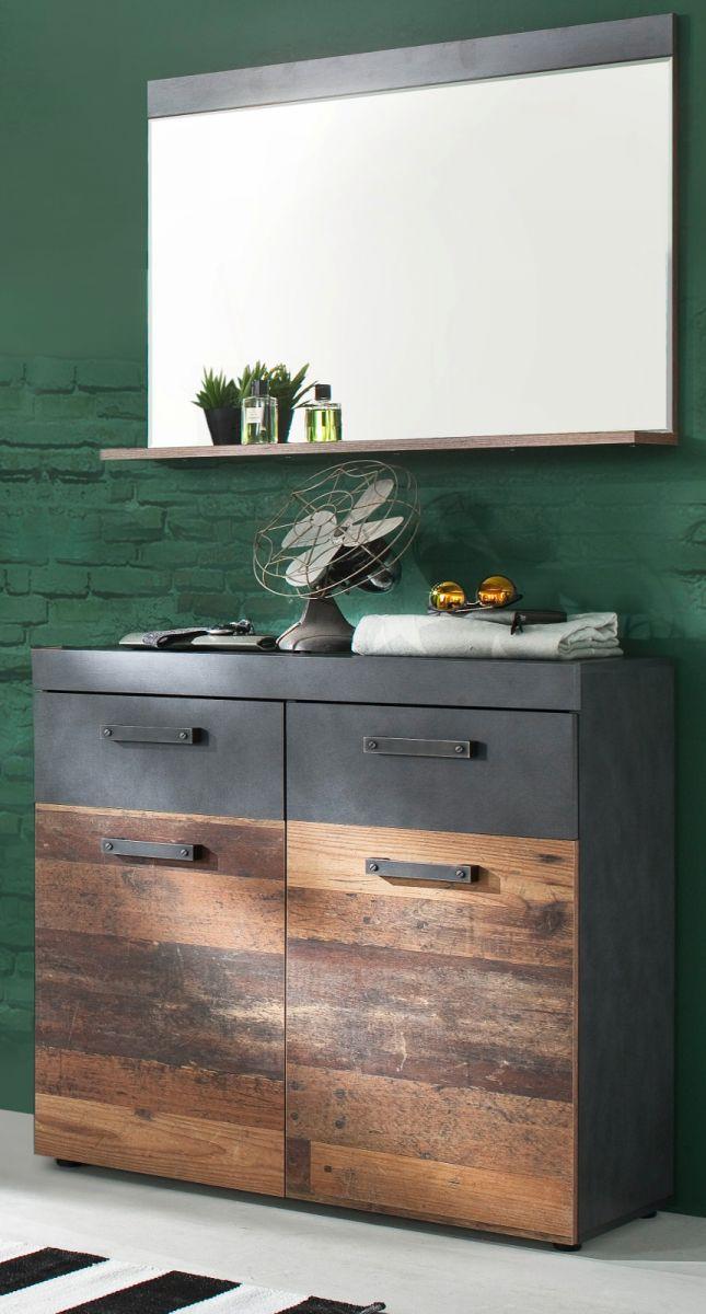 Garderobenset Indy 2-teilig in Used Wood und Matera grau 90 cm
