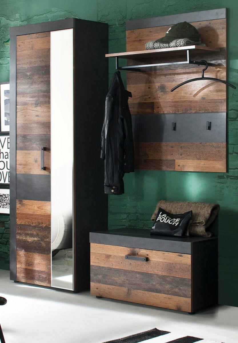 Garderobenset Indy 3-teilig in Used Wood Shabby und Matera grau 160 cm