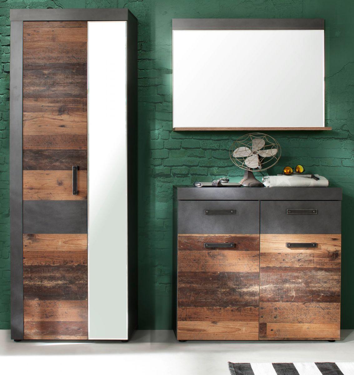 Garderobenset Indy 3-teilig in Used Wood und Matera grau 170 cm