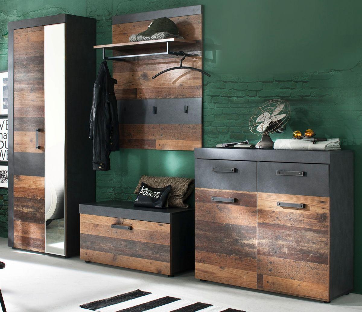 Garderobenset Indy 4-teilig in Used Wood Shabby und Matera grau 265 cm
