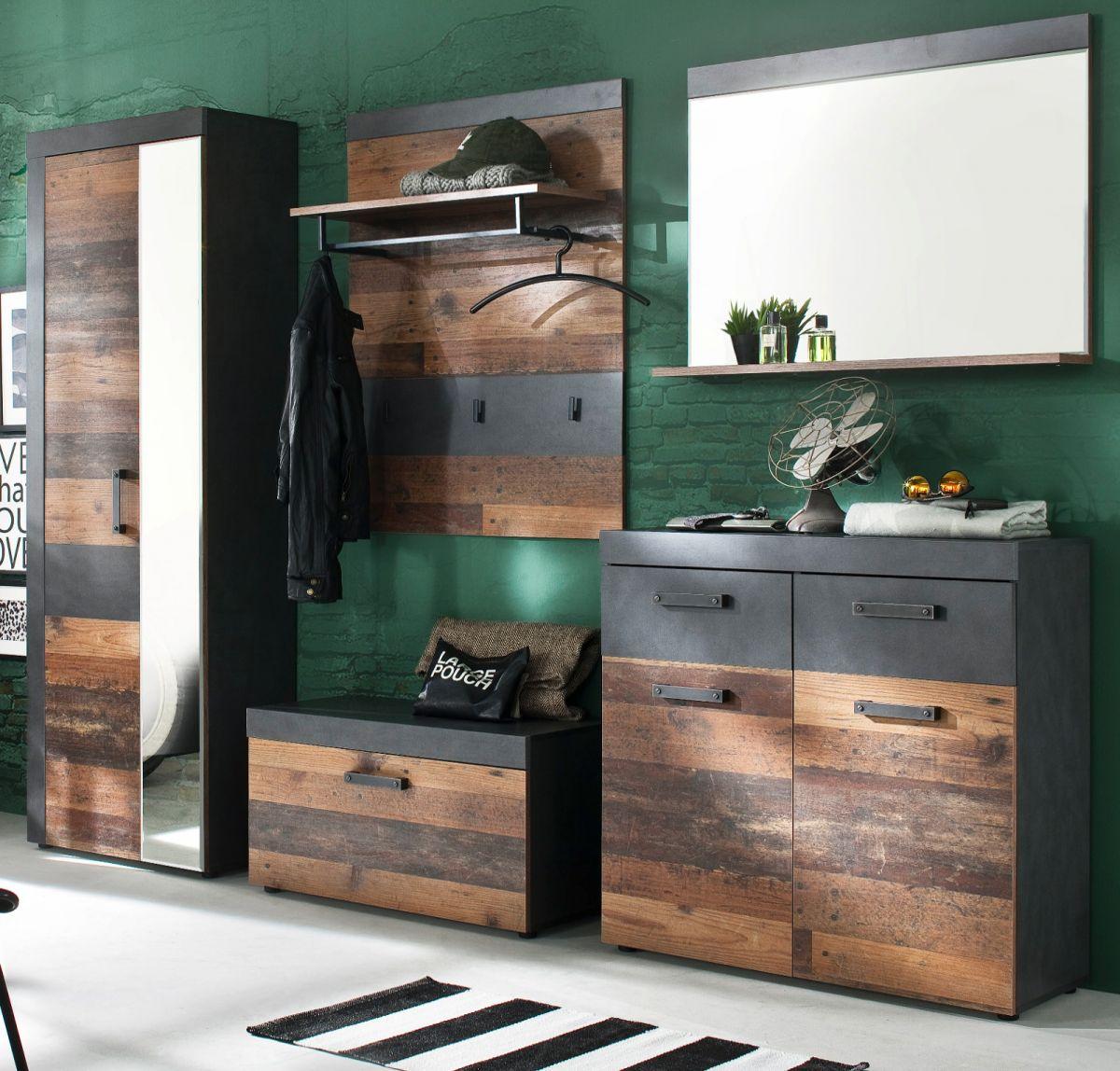 Garderobenset Indy 5-teilig Used Wood und Matera grau 265 cm