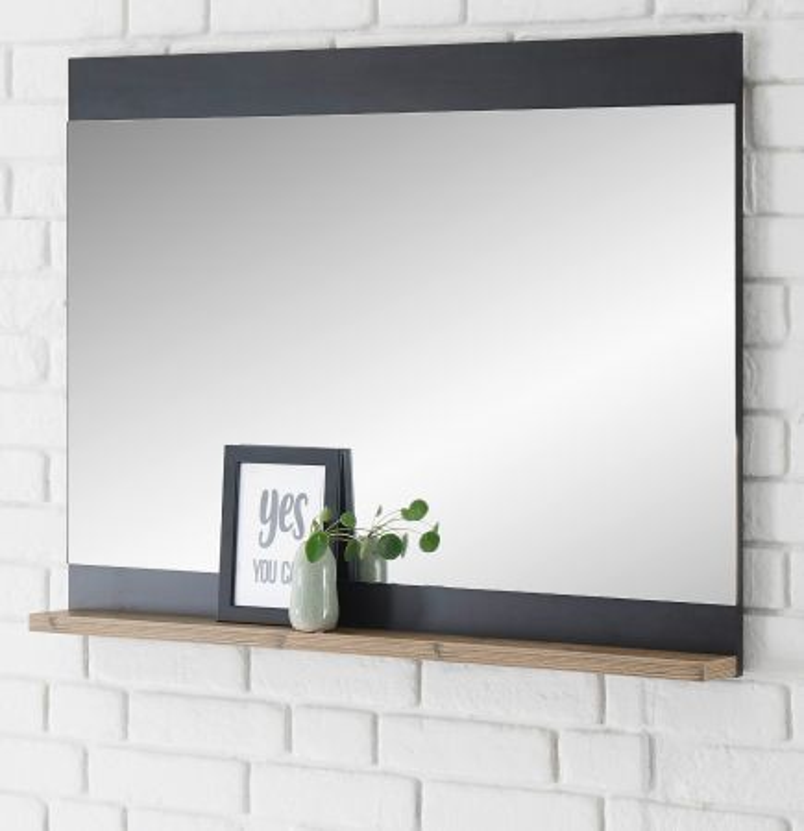 Garderobenspiegel Beveren in Fresco grau und Kastanie 92 x 71 cm