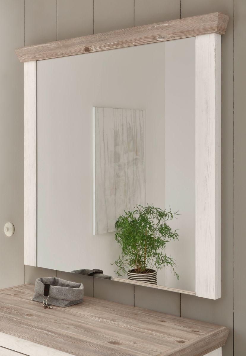 Garderobenspiegel Rovola in Pinie weiss 107 x 110 cm