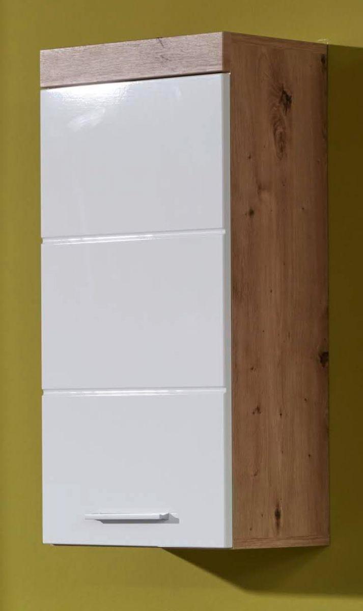 Hängeschrank Badmöbel Amanda Hochglanz weiss und Eiche 37 cm