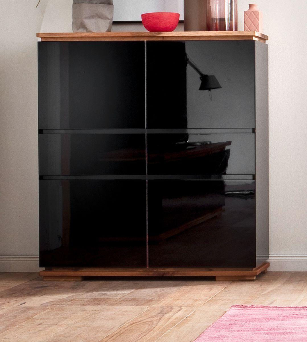 Highboard Chiaro schwarz Hochglanz Lack und Eiche - Asteiche massiv 102 x 115 cm