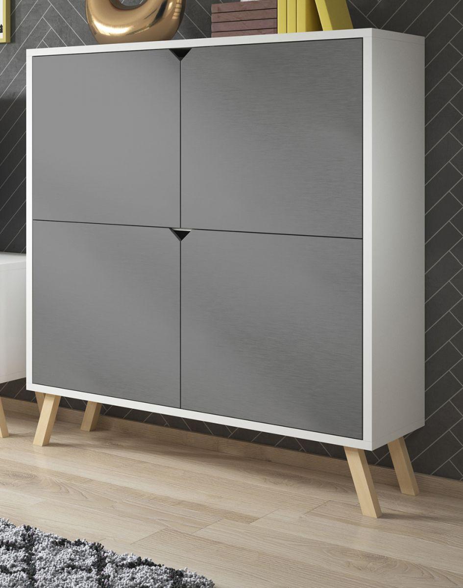Highboard Edos in grau und weiss 120 x 140 cm