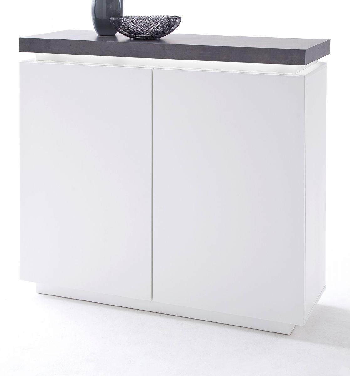 Highboard matt weiss und Stone Design 120 cm