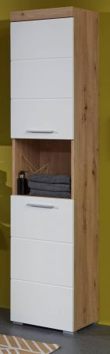 Hochschrank Badmöbel Amanda Hochglanz weiss und Eiche 37 cm