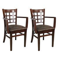 Holzstuhl Britania mit Armlehnen Holzsitz (2er-Set)
