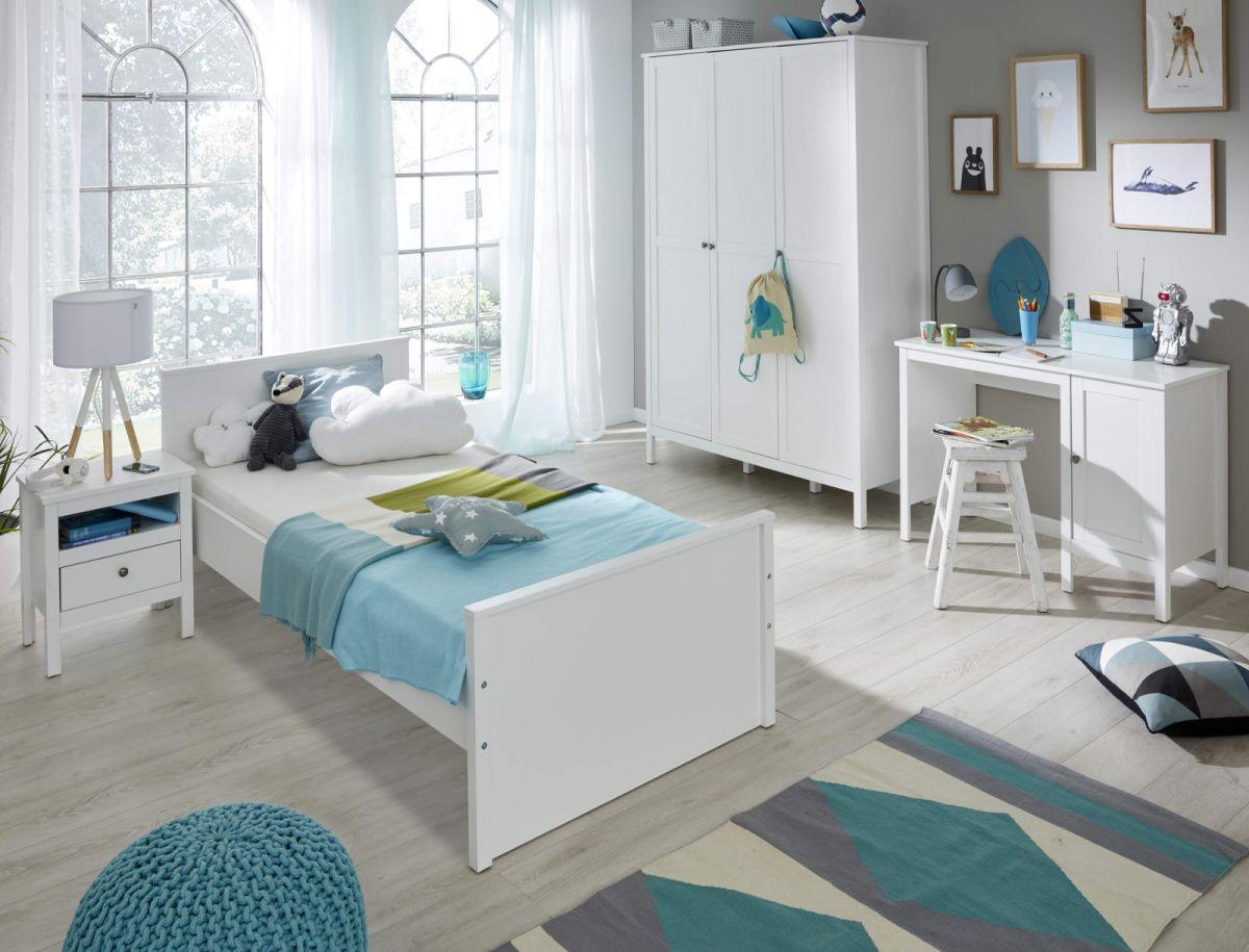 Kinderzimmer - Jugendzimmer komplett Set Ole 4-teilig in Landhaus weiss