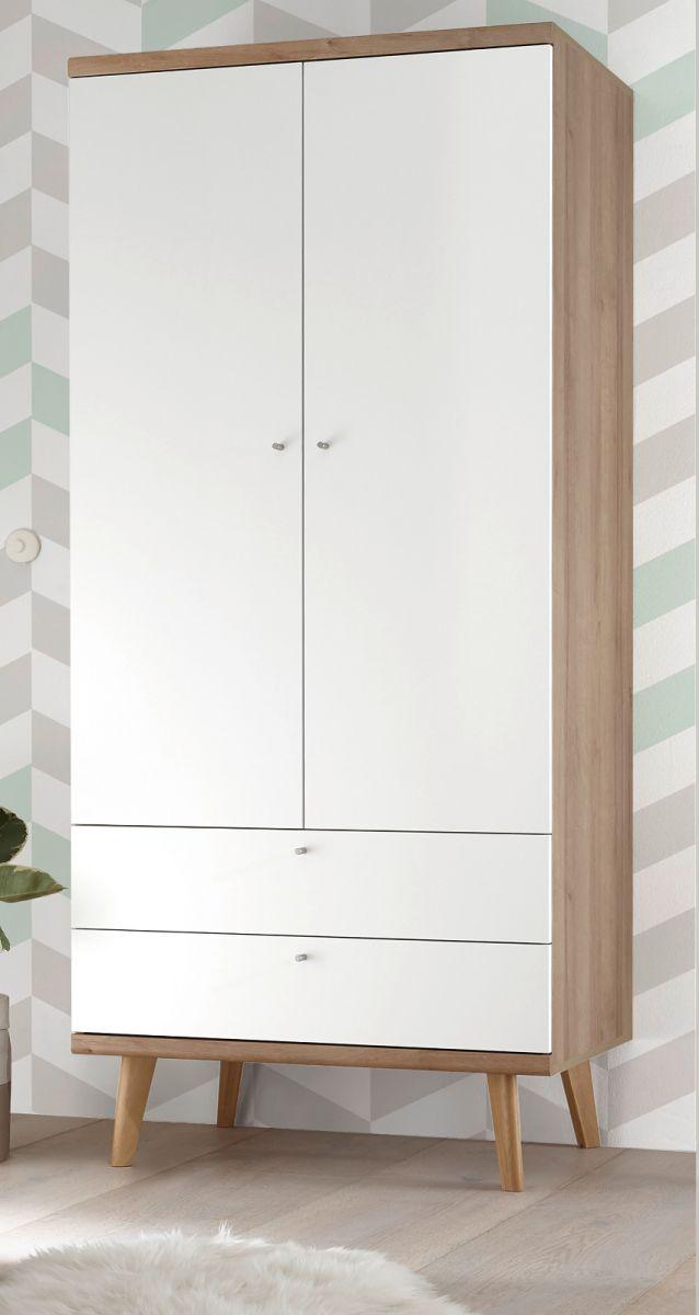Kleiderschrank Helge in weiss und Eiche Riviera 80 x 197 cm