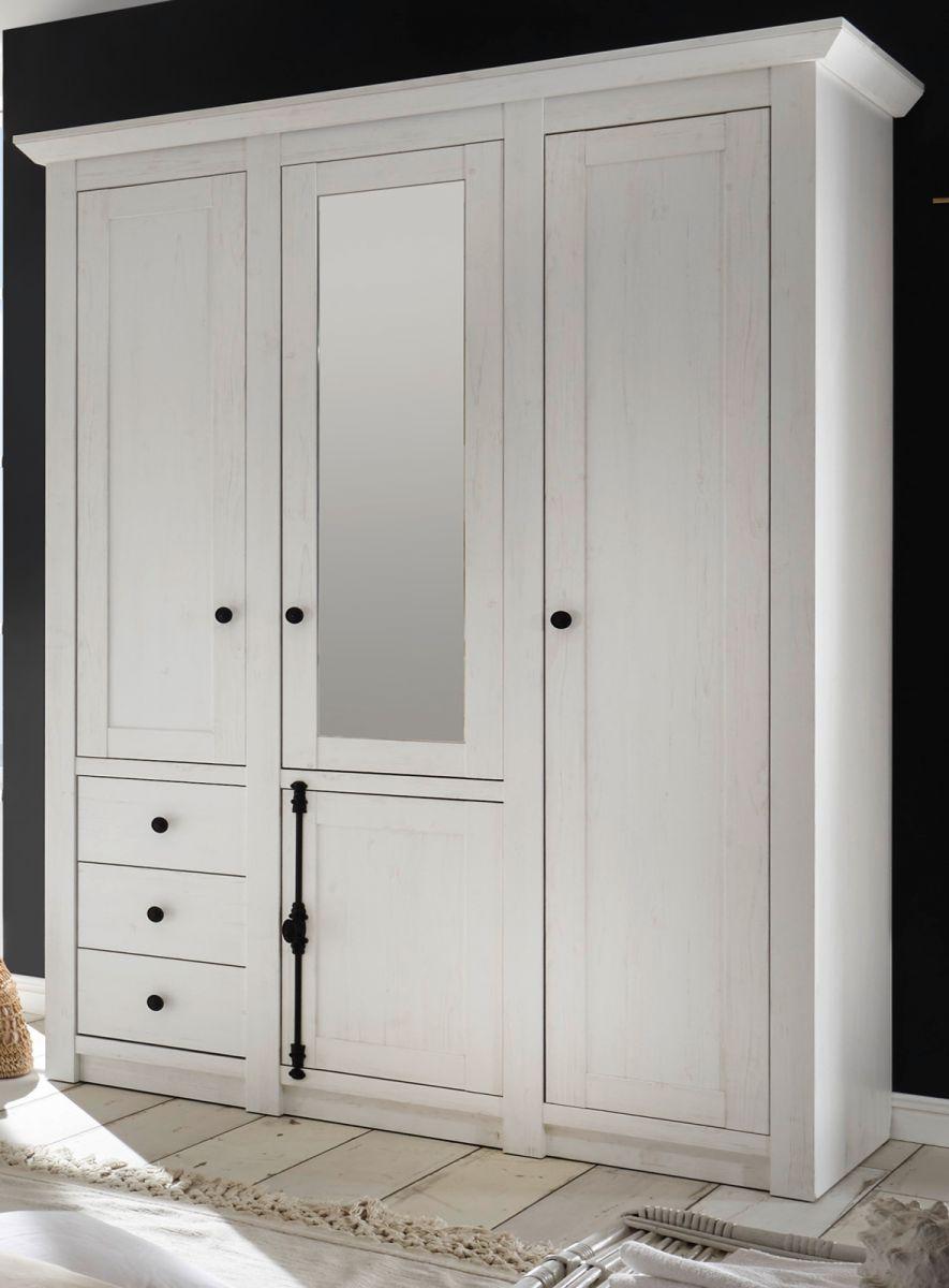 Kleiderschrank Hooge in Pinie weiss 147 x 206 cm