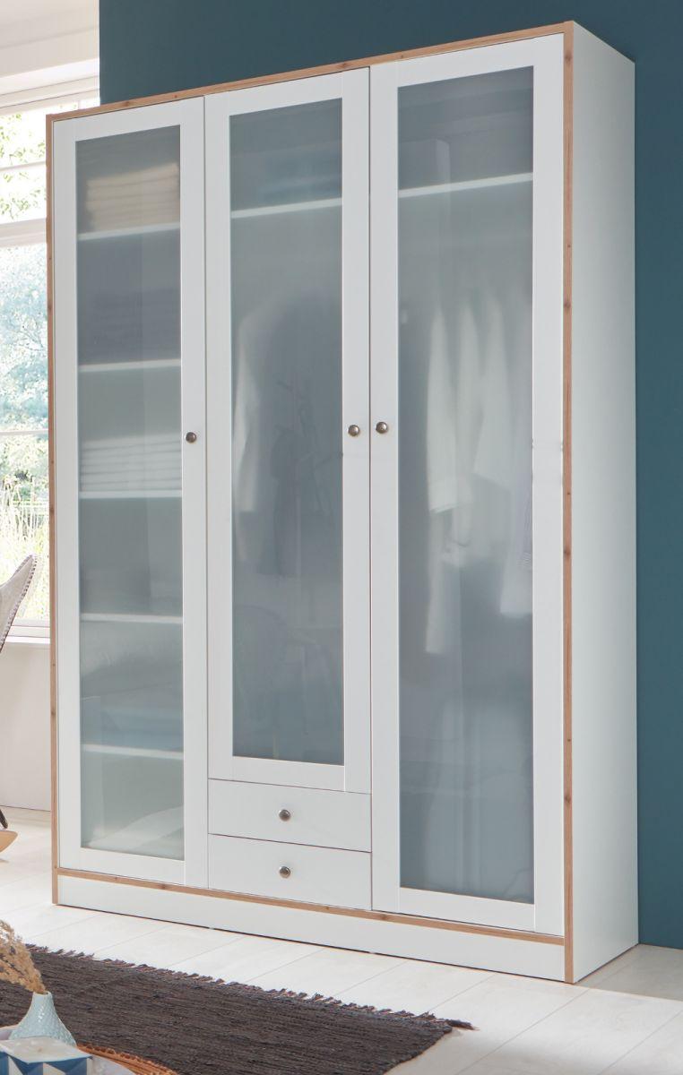 Kleiderschrank in weiss und Fichte Bramberg 127 x 213 cm
