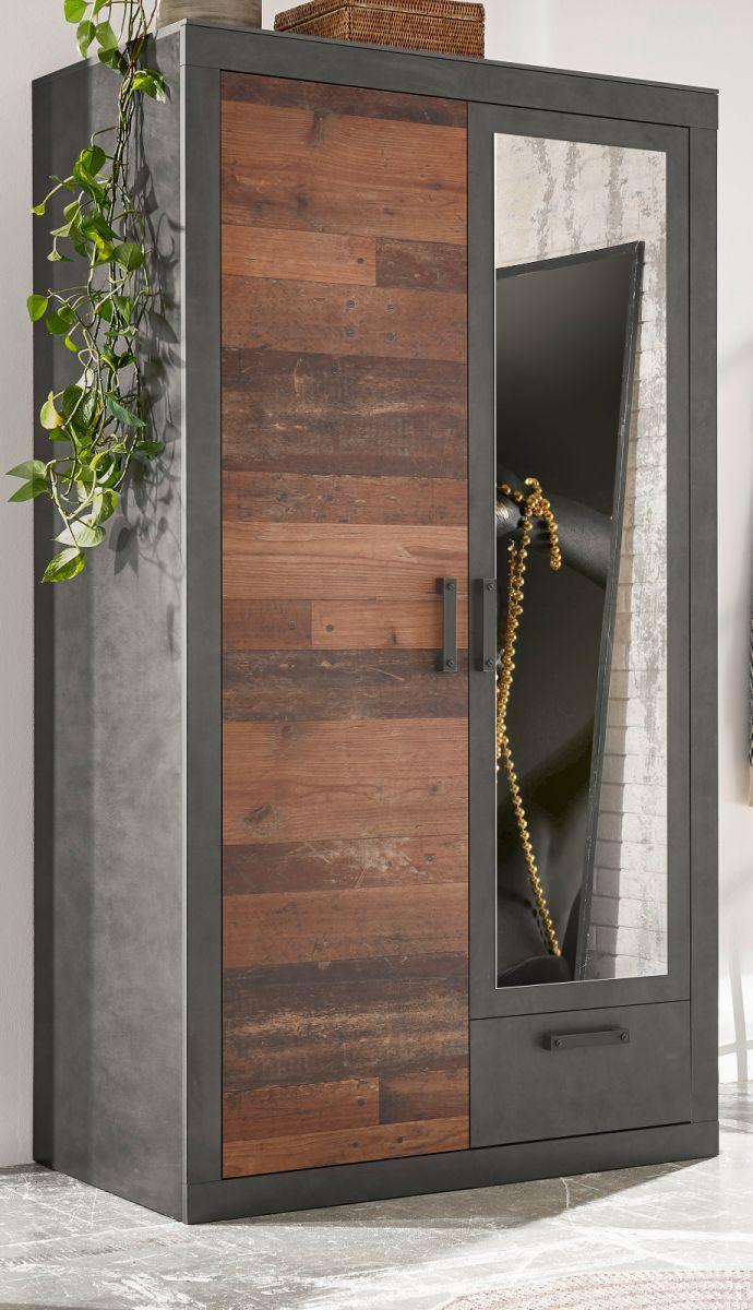 Kleiderschrank Ward in Used Wood Shabby und Matera grau 105 x 201 cm