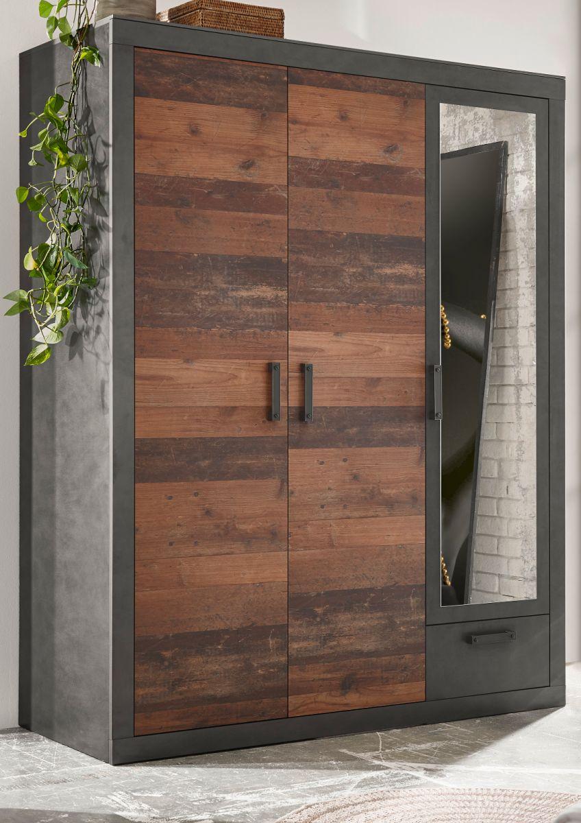 Kleiderschrank Ward in Used Wood Shabby und Matera grau 150 x 201 cm