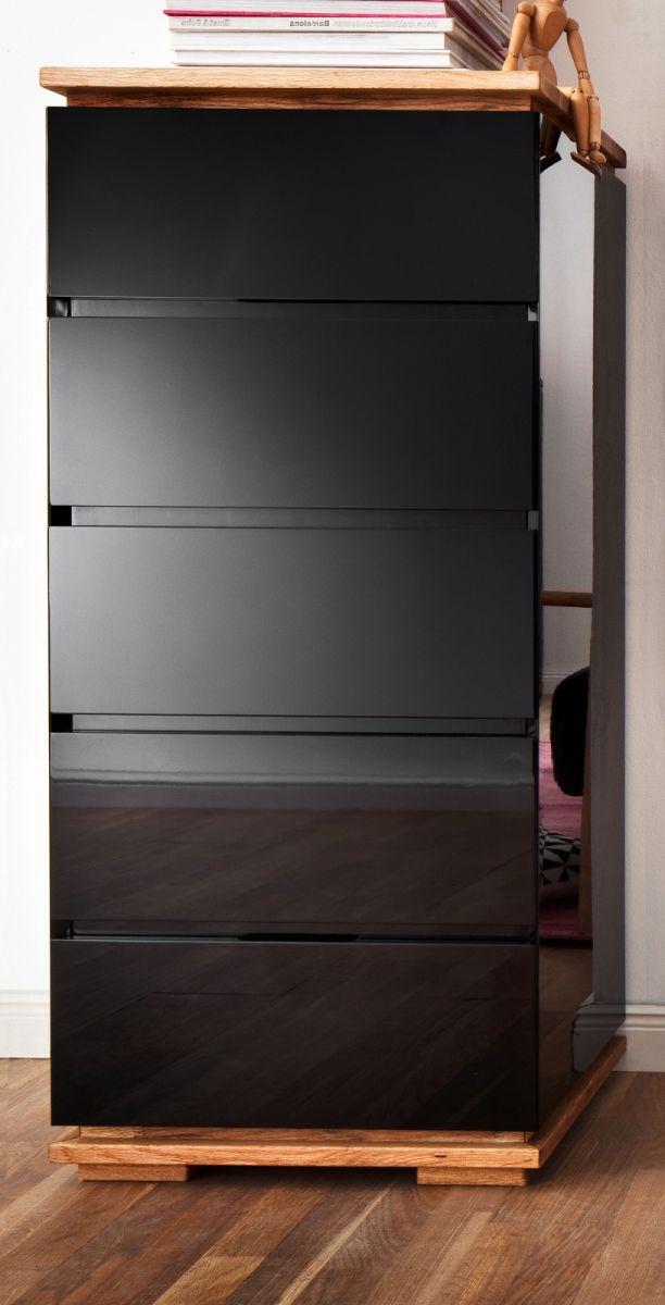 Kommode Chiaro schwarz Hochglanz Lack und Eiche - Asteiche massiv 51 x 115 cm