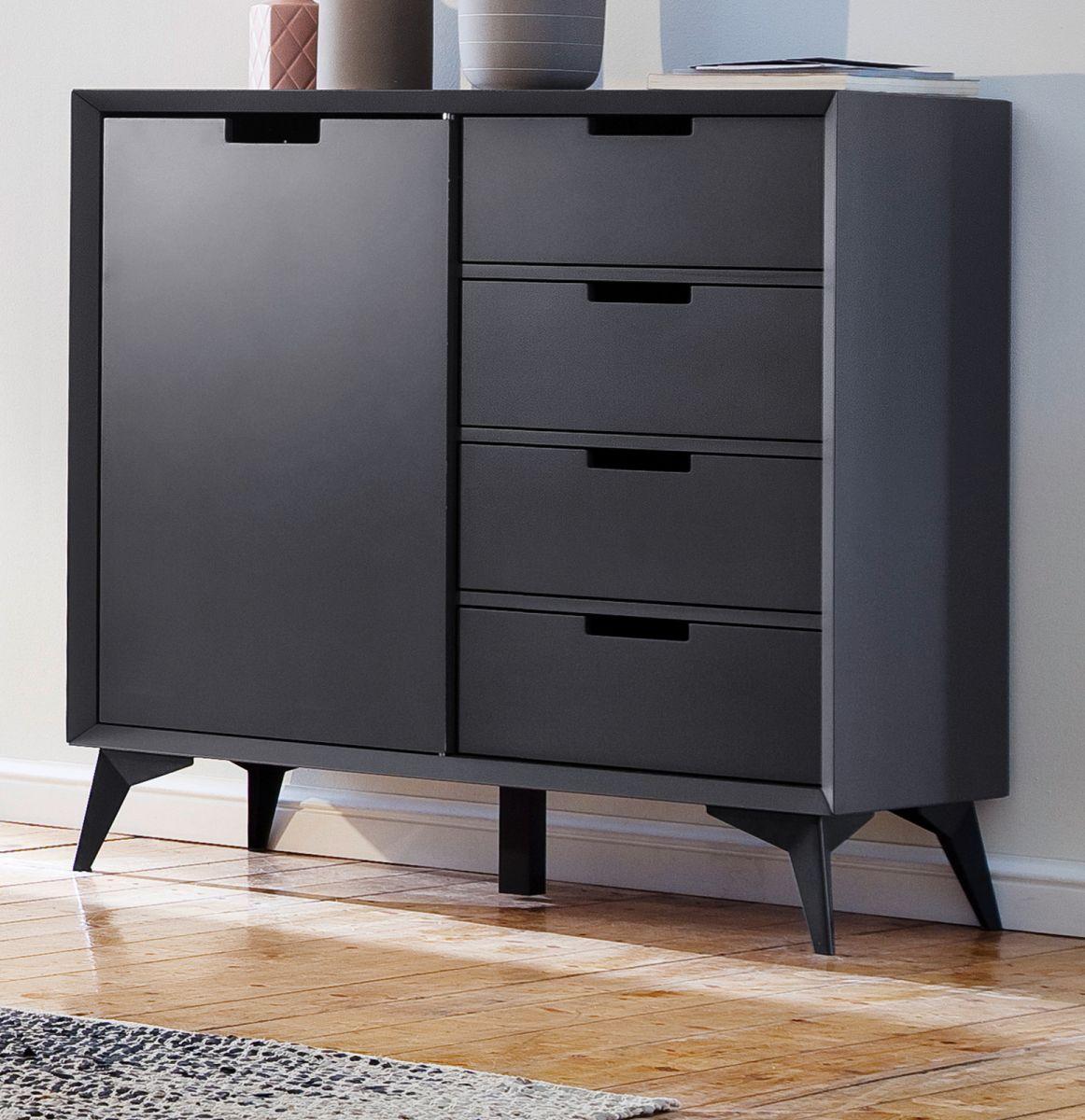 Kommode Netanja in weiss und grau mit Wechselfronten 93 x 92 cm