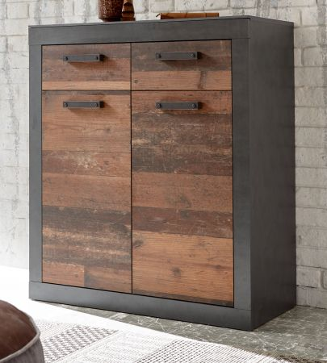 Kommode Ward in Used Wood Shabby und Matera grau 92 x 104 cm