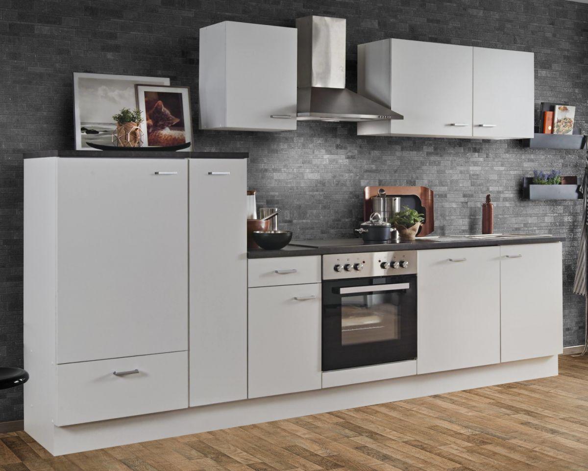 Küchenblock White Classic 300 cm weiss Einbauküche inkl- Herd Dunstabzugshaube Kühlschrank Geschirrspüler und Apothekerschrank