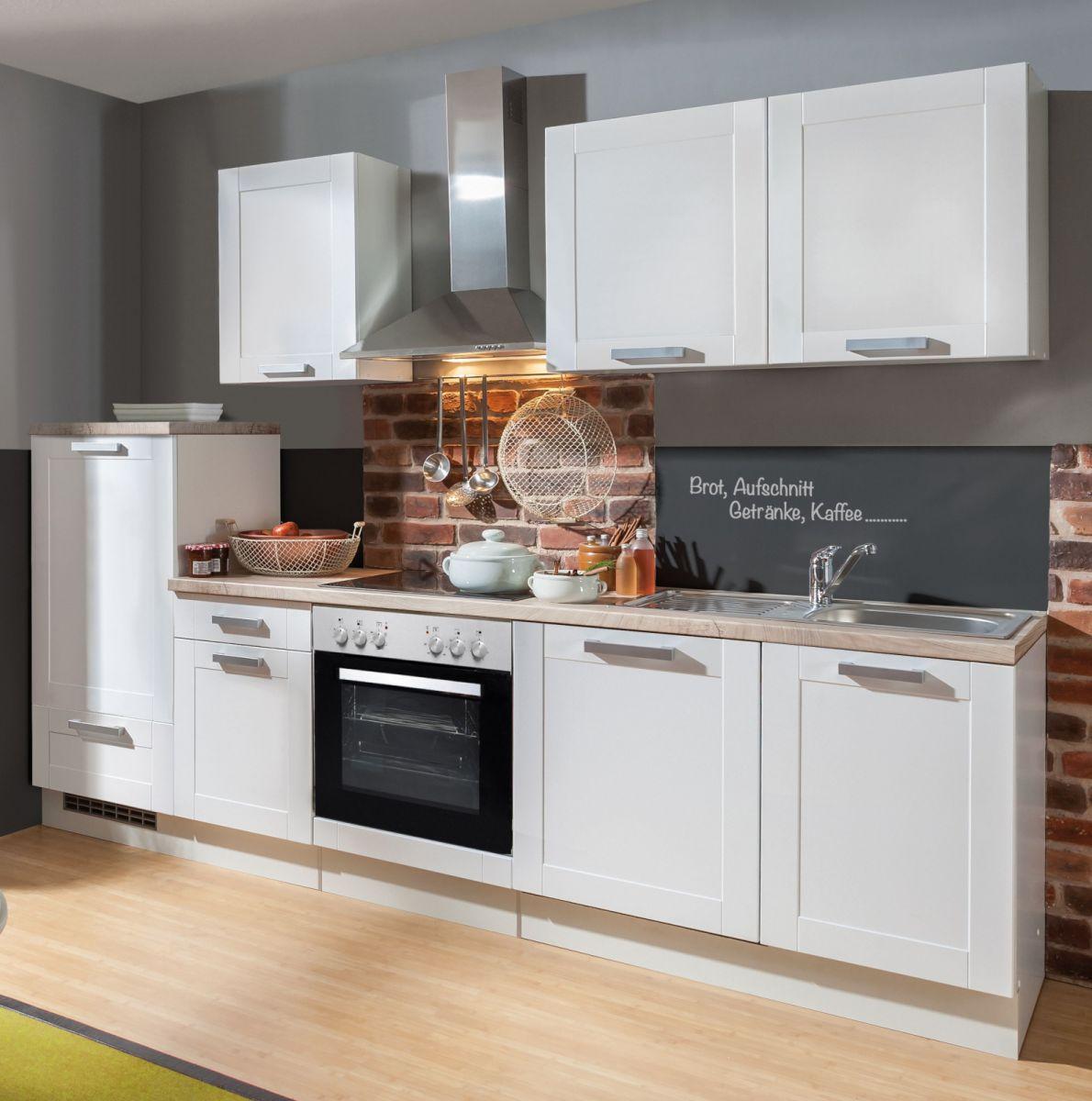 Küchenblock White Premium 270 cm weiss matt Landhaus Einbauküche inkl- Herd Dunstabzugshaube- Kühlschrank