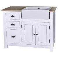 Landhaus Küchenschrank mit Waschbeckenaussparung - Eichenplatte Konfigurator alles frei wählbar