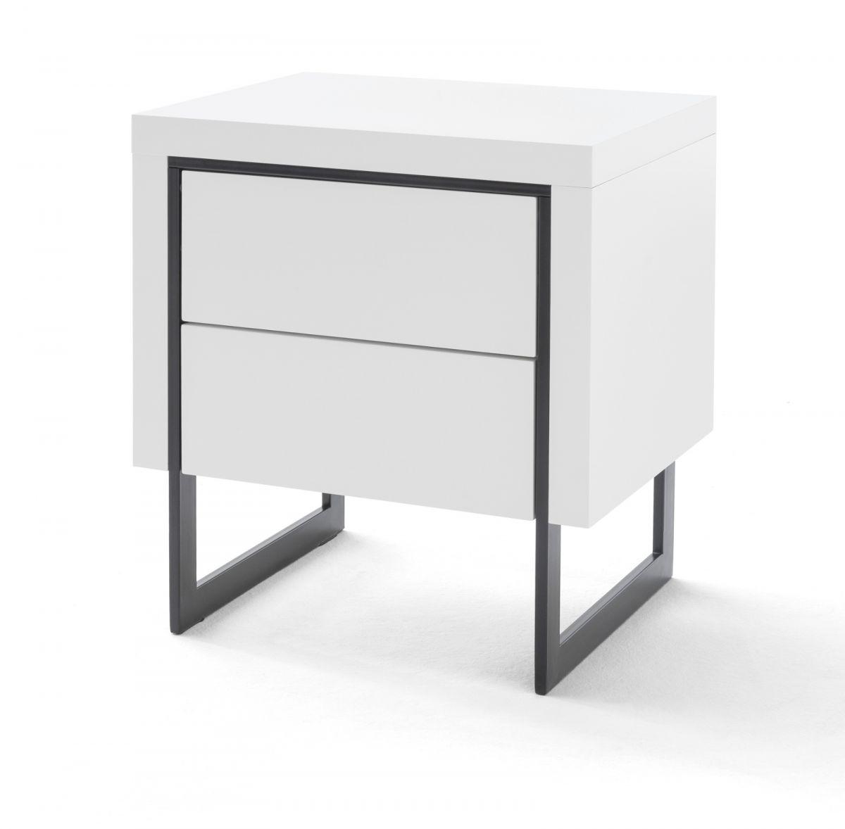 Nachttisch Cooper weiss Hochglanz lackiert - schwarz 50 cm