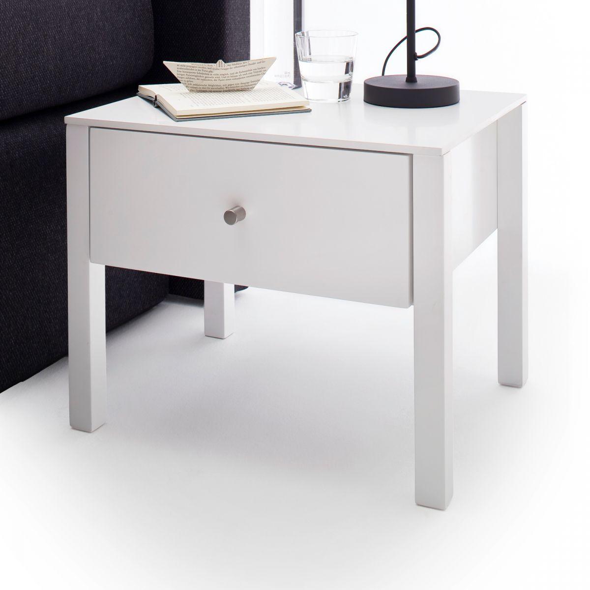 Nachttisch Nola matt weiss lackiert 50 x 40 cm