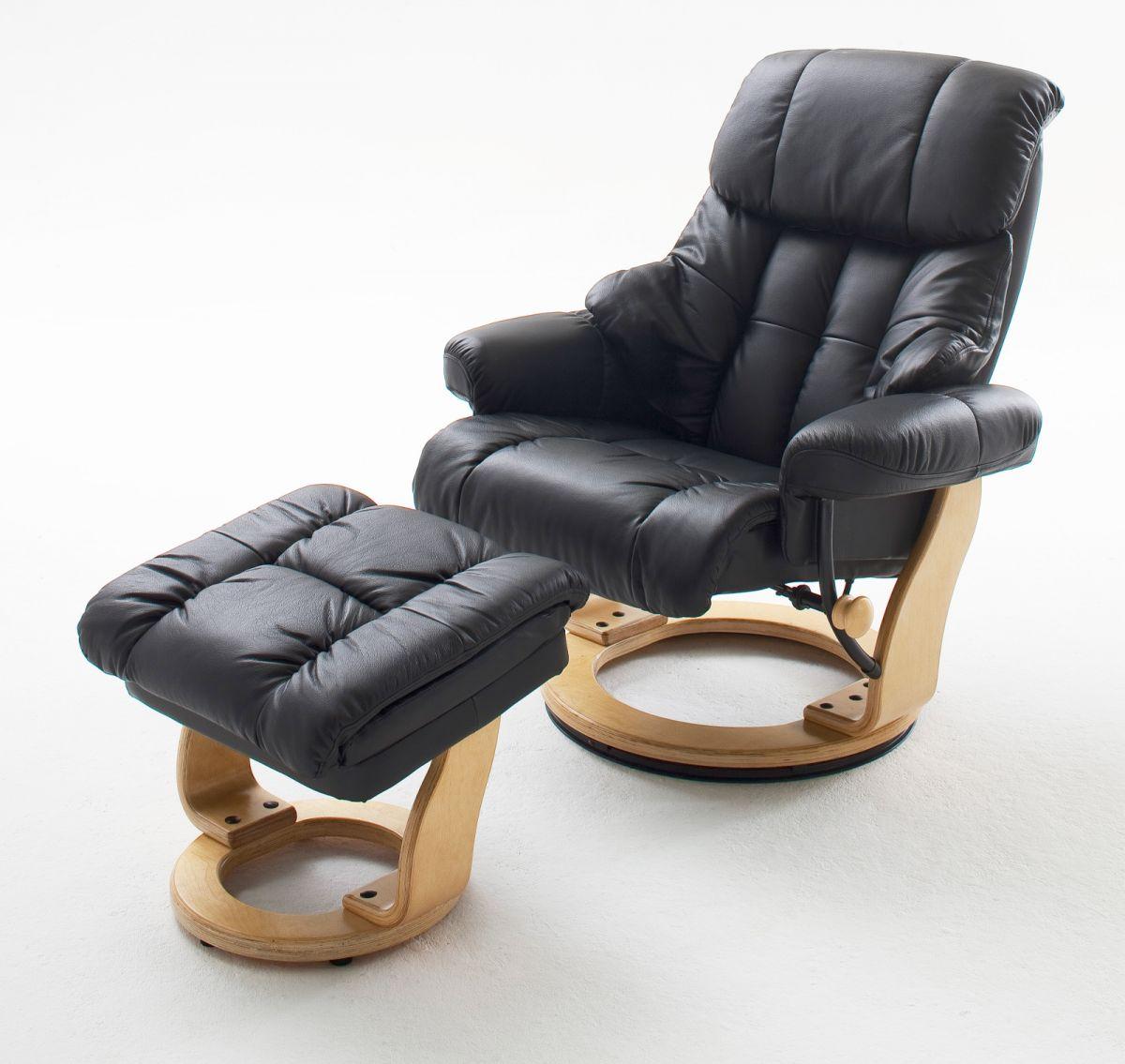 Relaxsessel Calgary schwarz Leder mit Hocker