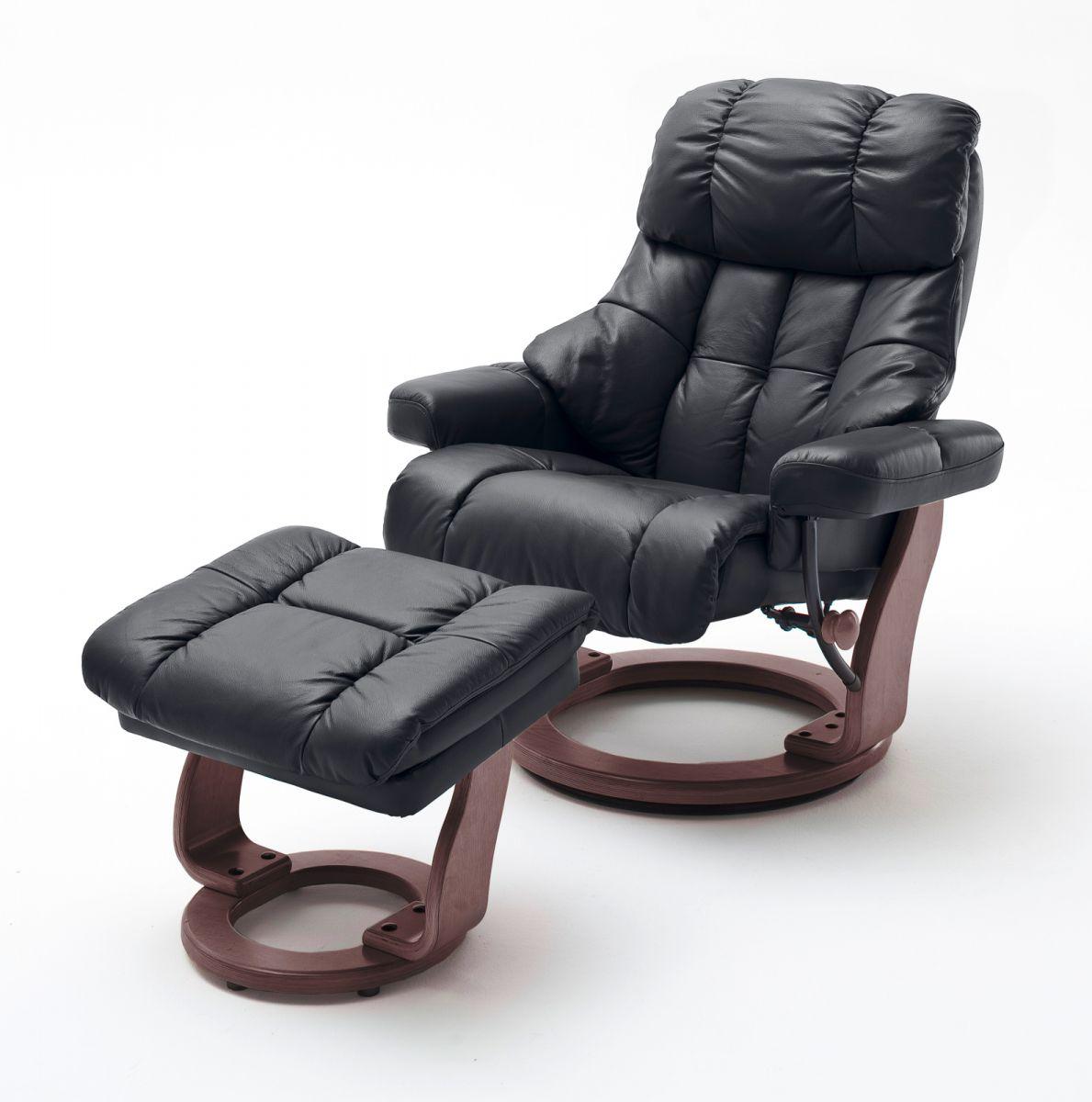 Relaxsessel Calgary XXL schwarz Leder mit Hocker