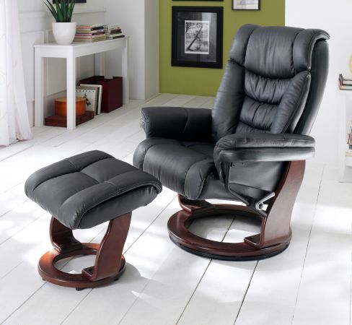 Relaxsessel Toronto schwarz Set mit Hocker