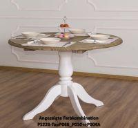 Runder Esstisch zum Ausziehen - Eichenplatte multicolor