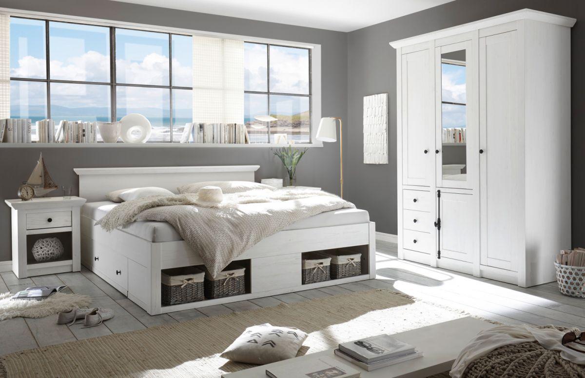 Schlafzimmer komplett Hooge in Pinie weiss Komplettzimmer 3-teilig