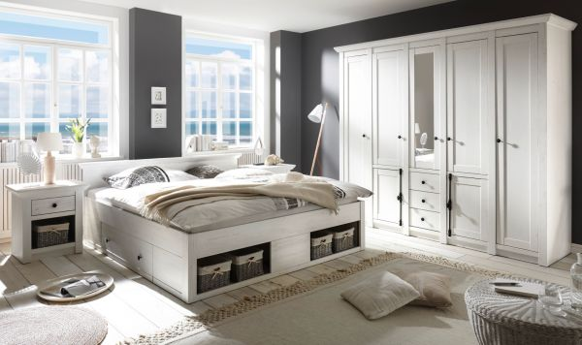 Schlafzimmer komplett Hooge in Pinie weiss Komplettzimmer 4-teilig