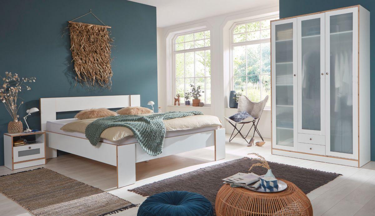 Schlafzimmer komplett in weiss und Fichte Bramberg Komplettzimmer 4-teilig