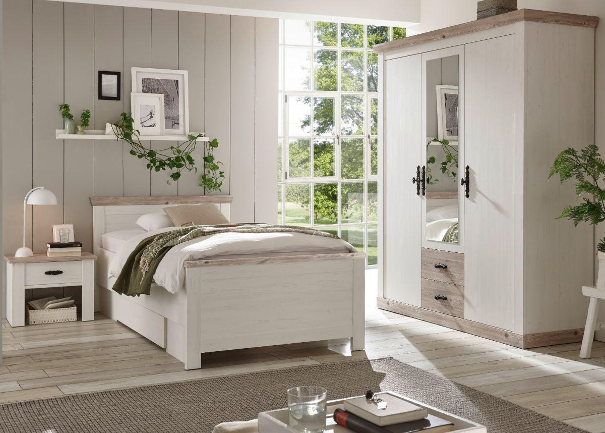 Schlafzimmer komplett Rovola in Pinie weiss Landhaus Komplettzimmer 3-teilig