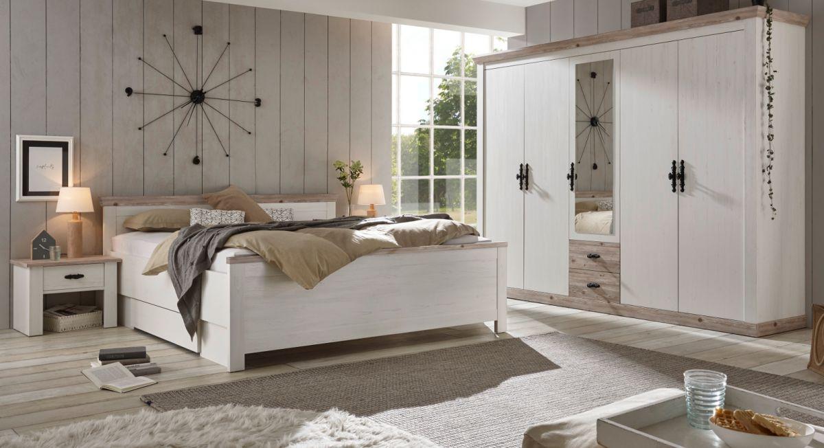 Schlafzimmer komplett Rovola in Pinie weiss Landhaus Komplettzimmer 4-teilig