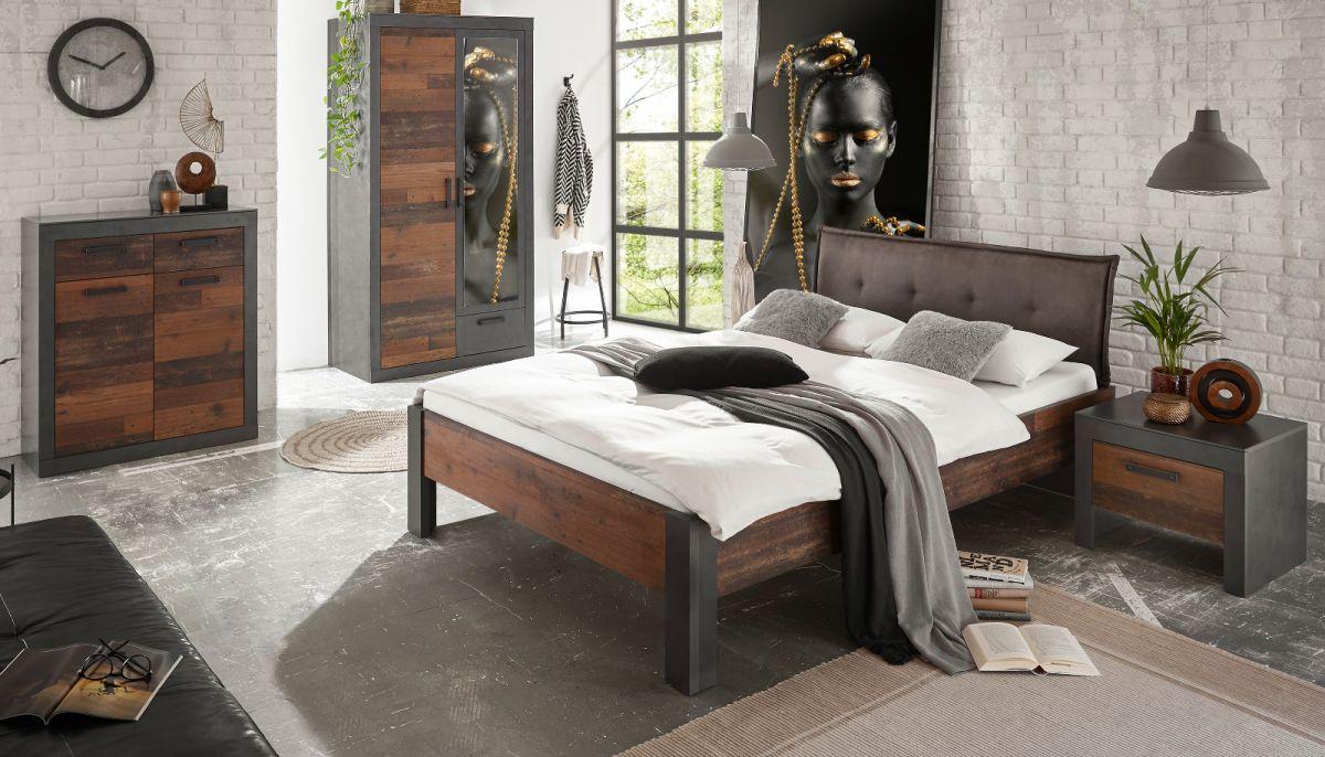 Schlafzimmer komplett Ward in Used Wood Shabby und Matera grau Komplettzimmer 4-teilig