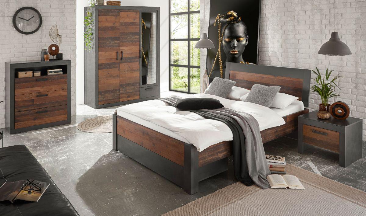 Schlafzimmer komplett Ward in Used Wood Shabby und Matera grau Komplettzimmer 5-teilig