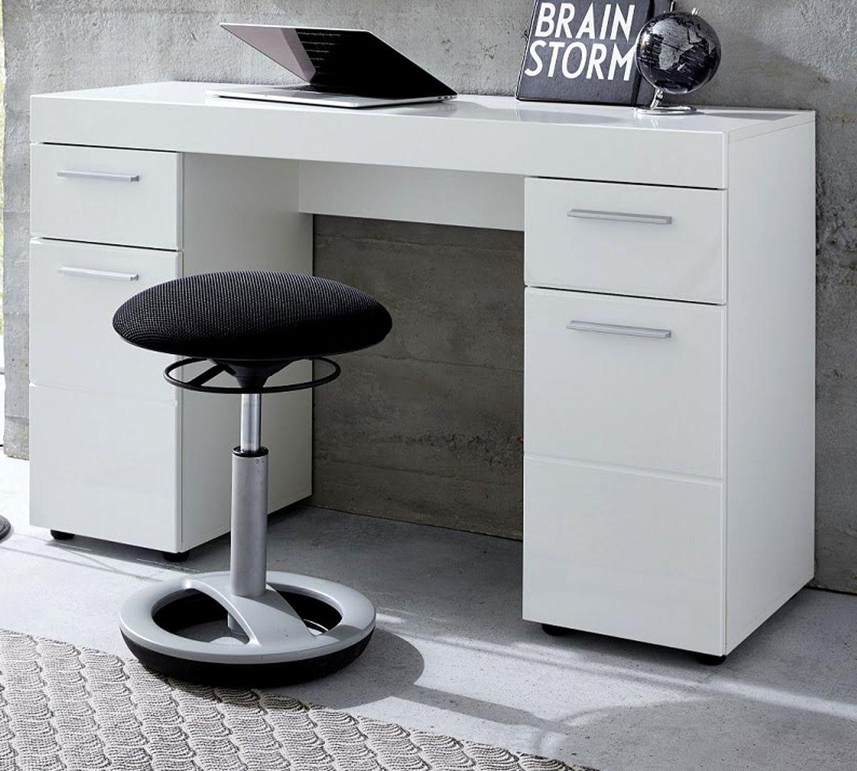 Schreibtisch Amanda Hochglanz weiss 120 x 76 cm