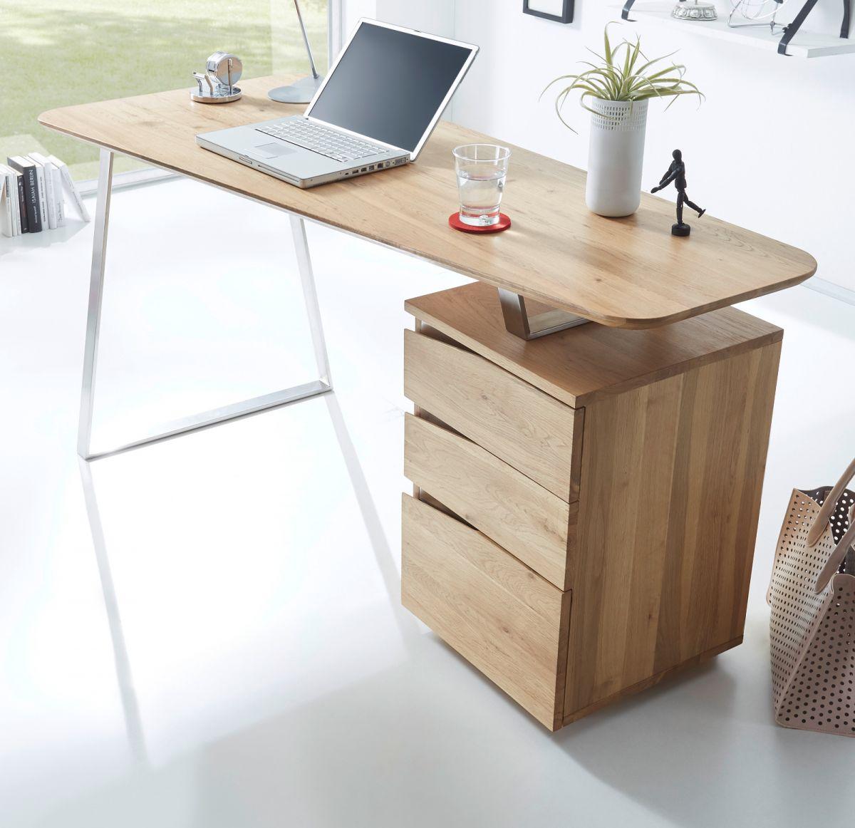 Schreibtisch Asteiche teilmassiv 150 cm