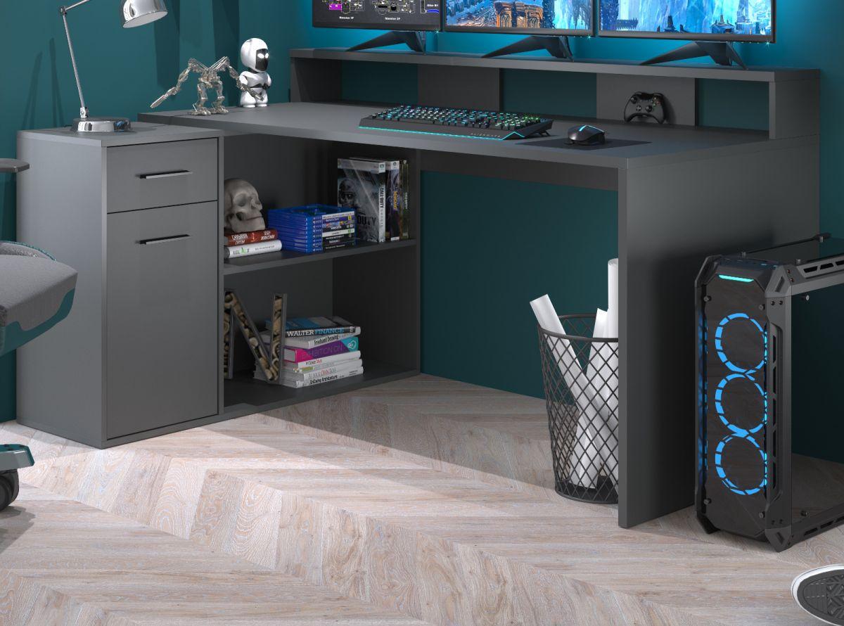Schreibtisch Gamer in anthrazit matt Eckschreibtisch 160 - 200 x 92 cm