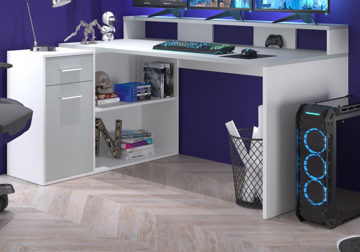 Schreibtisch Gamer in weiss und grau Eckschreibtisch 160 - 200 x 92 cm