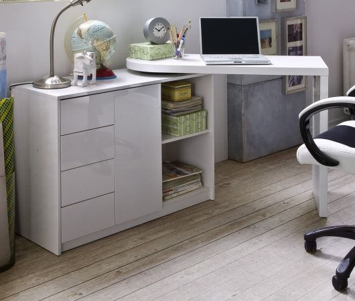 Schreibtisch Hochglanz weiss 108 - 166 cm