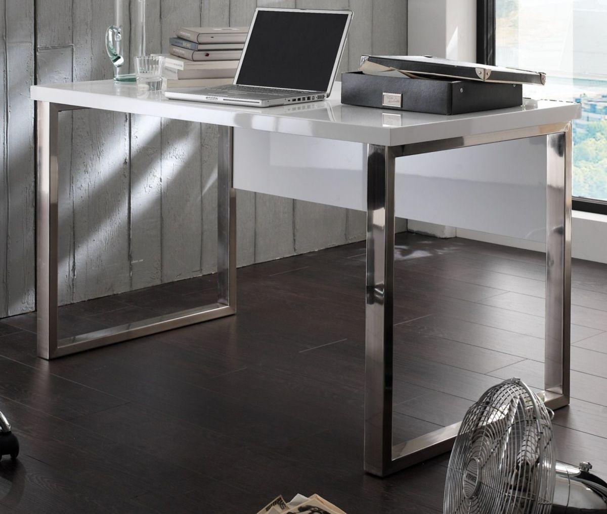 Schreibtisch Hochglanz weiss Lack 140 cm
