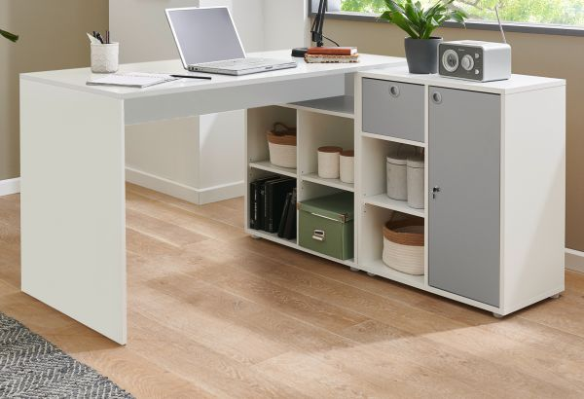 Schreibtisch in weiss und grau Eckschreibtisch 138 x 138 cm