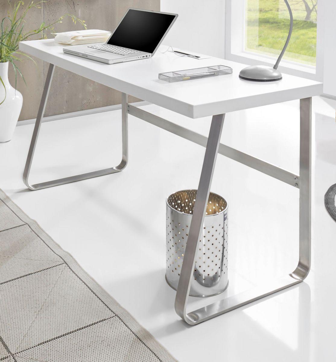 Schreibtisch matt weiss Lack 140 cm