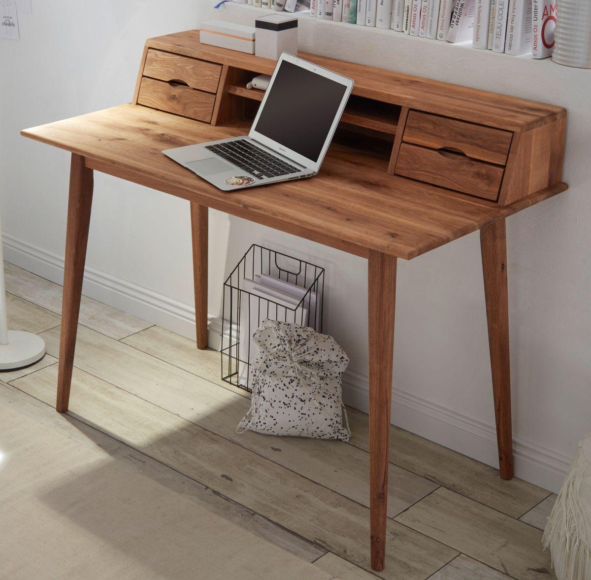 Schreibtisch Melbourne in Asteiche massiv geölt 110 cm